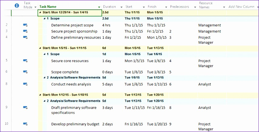 view project plan by week in a tabular format