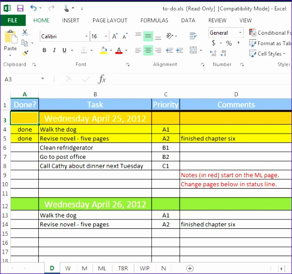 to do list spreadsheet 587552
