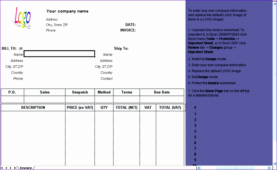 vat invoice excluding tax 928572