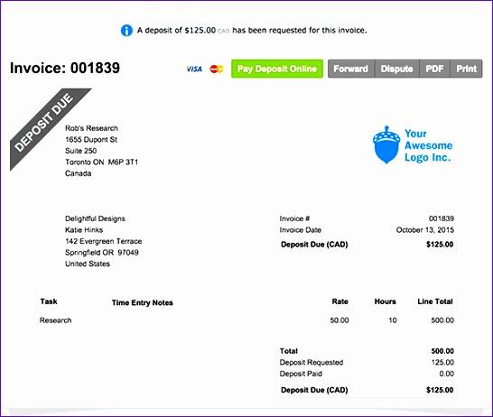 50 Deposit Invoice Sample 1564 546462