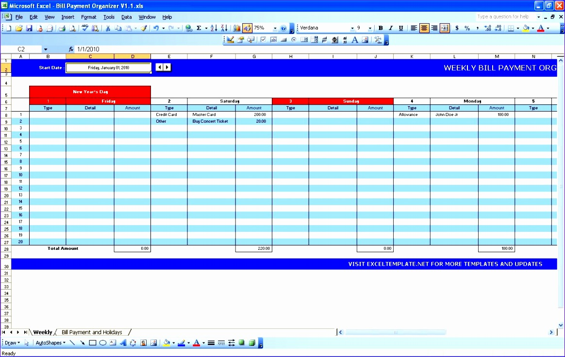 bill payment calendar excel templates pictures 1164736