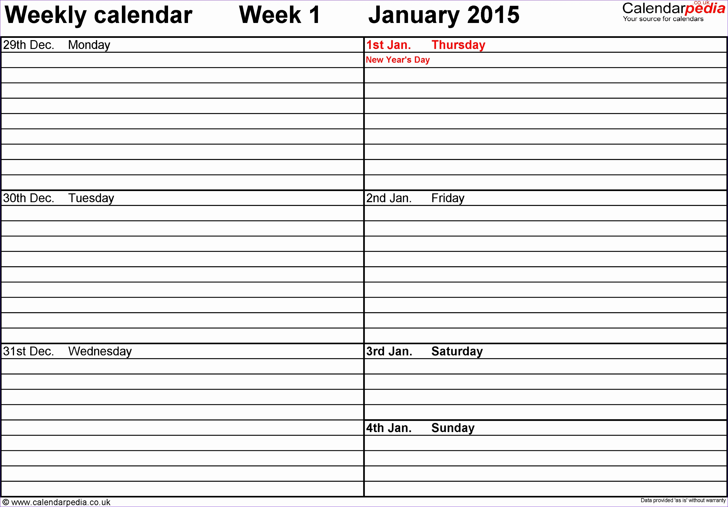 weekly calendar 2015 uk free printable templates for pdf gallery