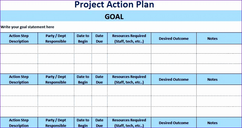 3 free project action plan template xls 800425