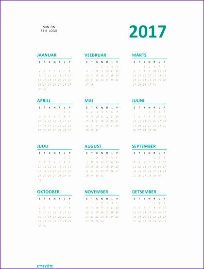 Templates for Microsoft Excel Ceeoc Beautiful 2017 Terve Aasta Kalender E–p Fice Templates 462600