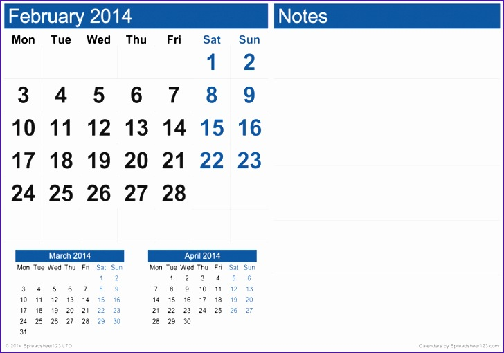 monthly calendar notes 728510