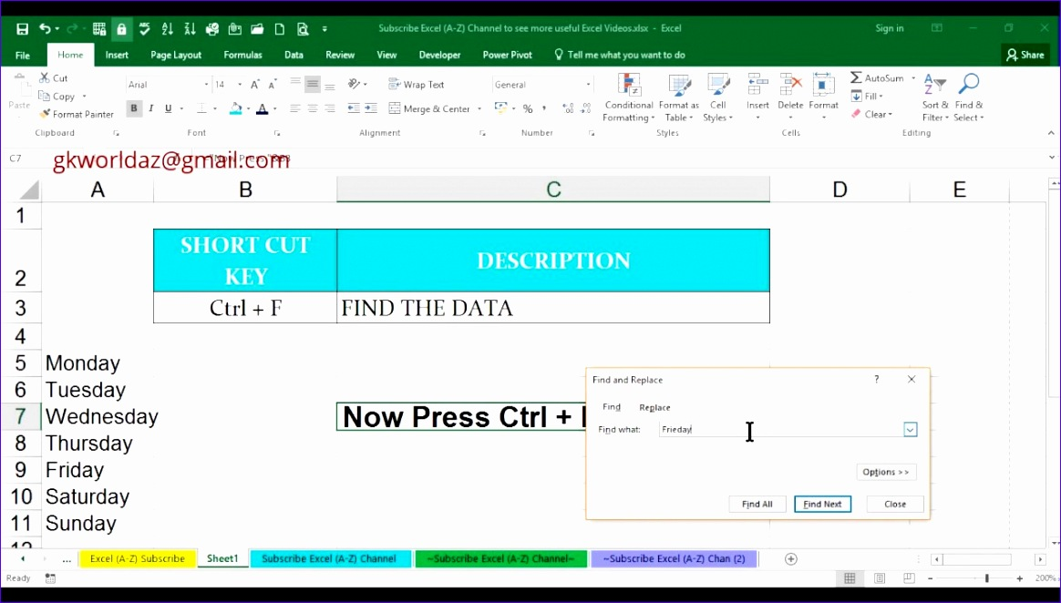 what is the shortcut key for find in ms excel 2016