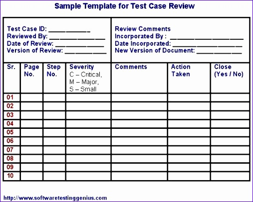 test case and its sample template 507406