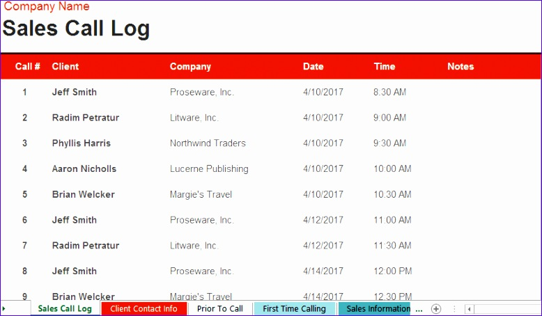 create call log templates for tracking sales 778454
