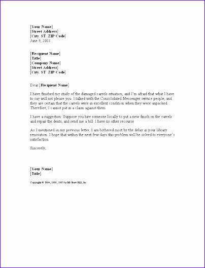 letter offering solution for damaged shi 231 404529
