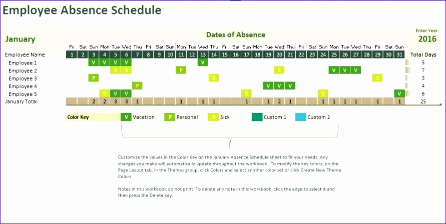 employee absence tracking calendar microsoft excel template 891448