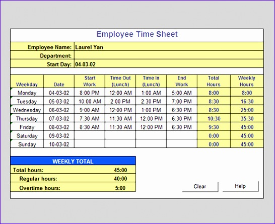 Timecard Template Excel  Exceltemplates  Exceltemplates