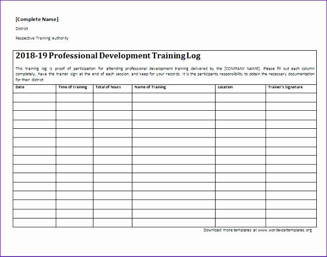 professional development training log 672527
