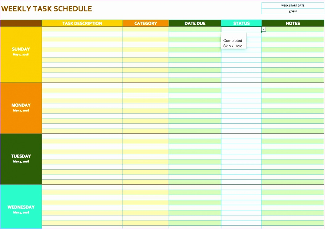 free weekly schedule templates for excel smartsheet gallery 1055744
