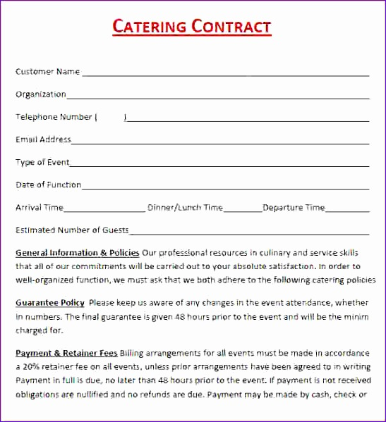 6 catering contract template free 547599