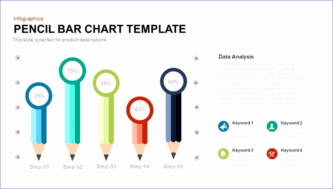 pencil bar chart powerpoint and keynote template 1164662