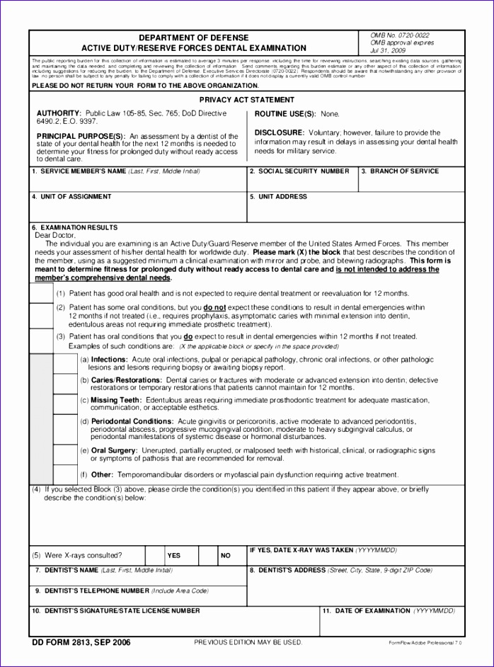 army dental examination form 698942