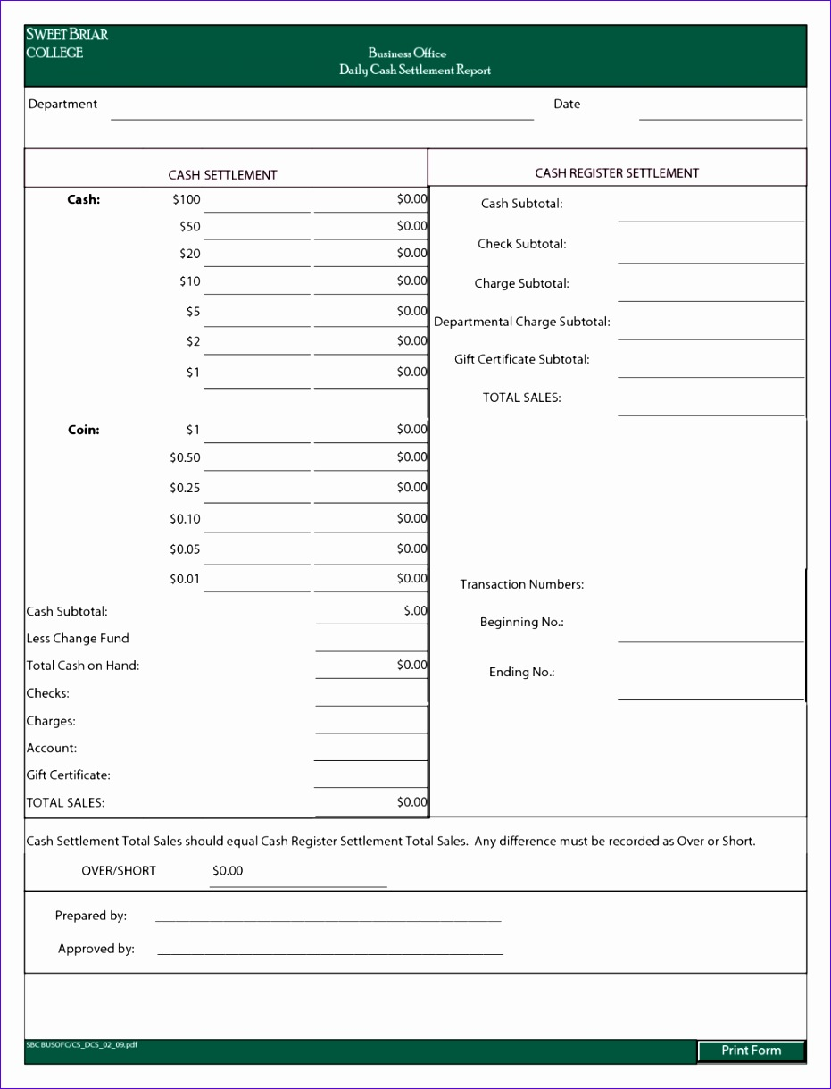 daily cash report template sample for business 9311219