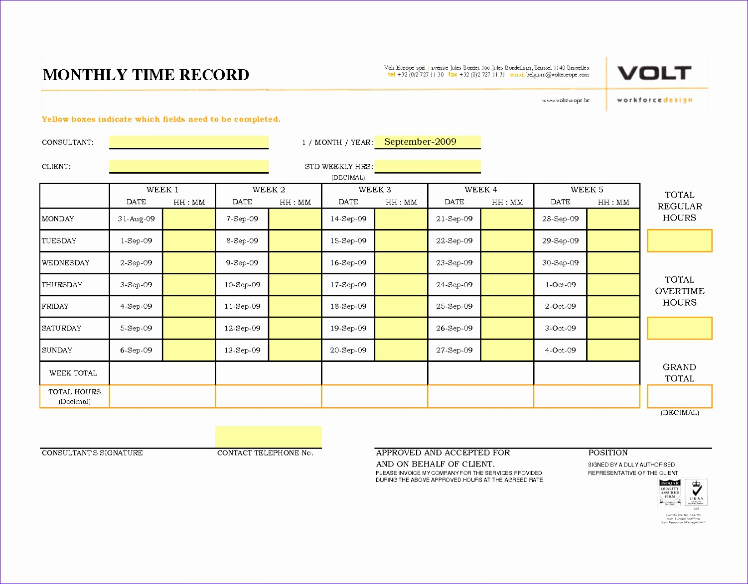 monthly time sheets excel
