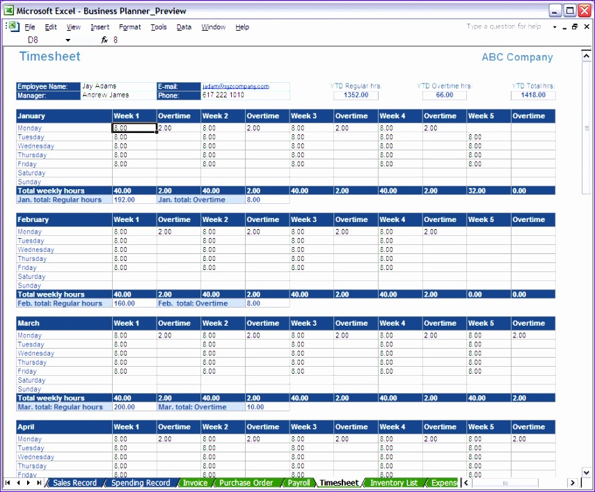 8 excel time sheet 855707