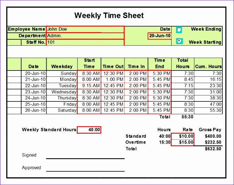 timesheet templates excel 1 2 4 week versions 784622
