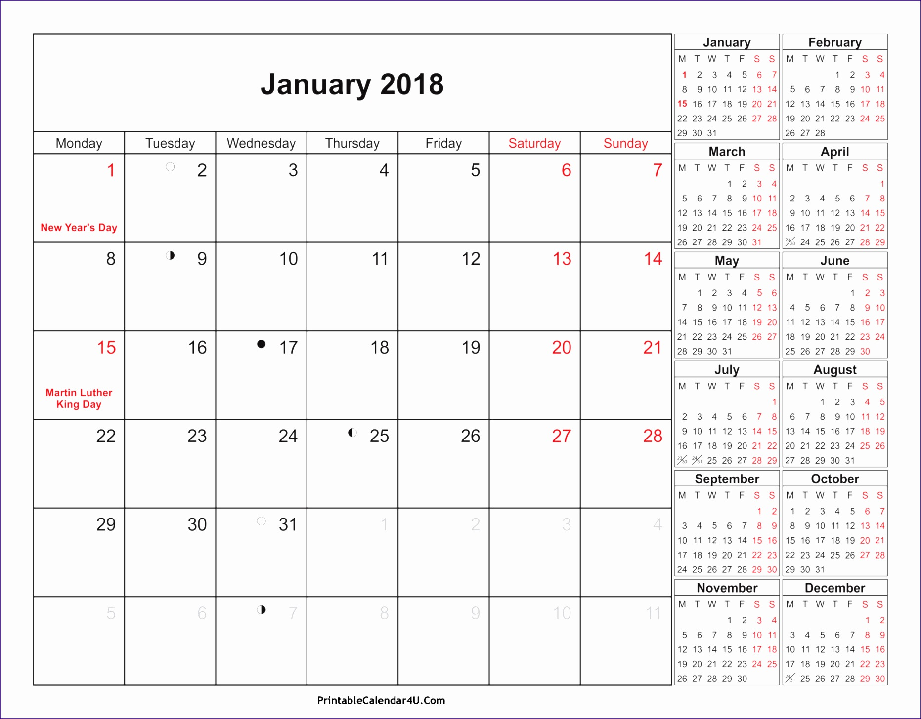 january calendar 2017 martin luther king day 18631456