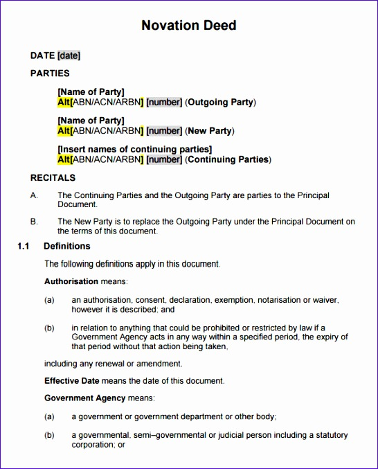 novation agreement template 546677