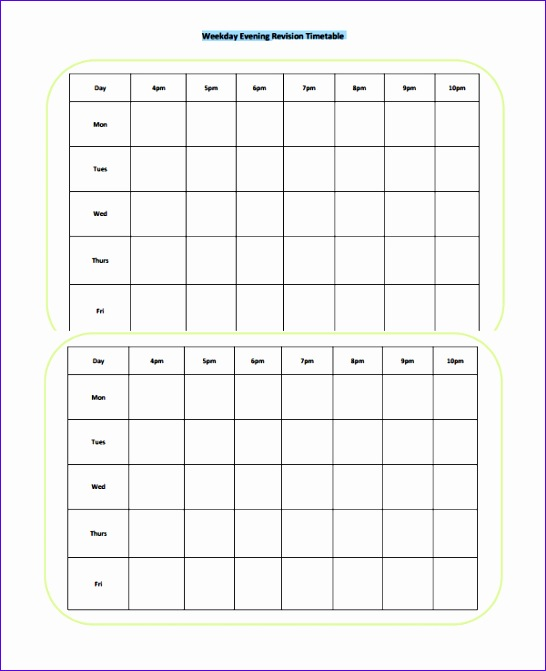 8 timetable template excel exceltemplates exceltemplates for Blank revision timetable template