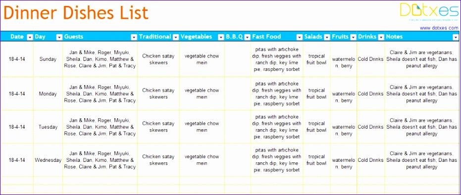 dinner list template 931394