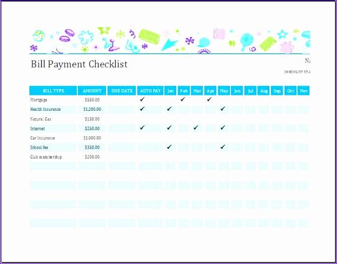 bill payment checklist 658515