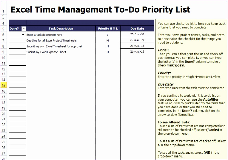 to do list template for excel 800563