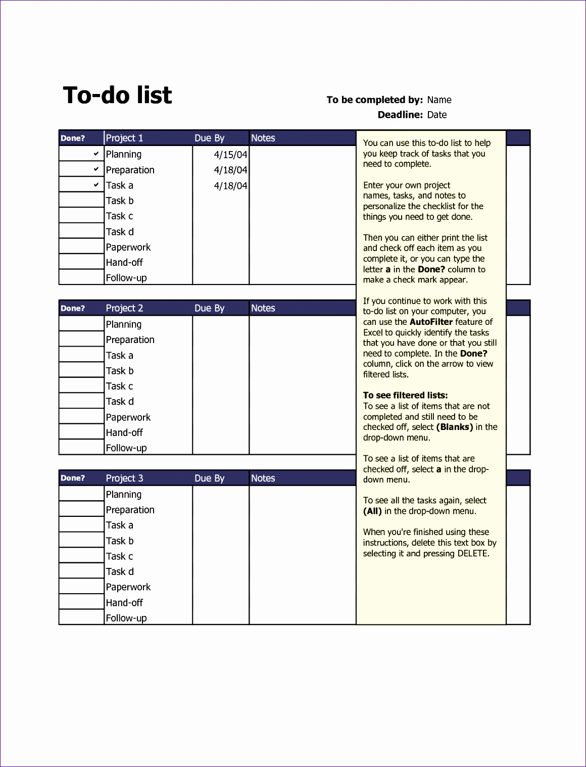 12 to do list excel template exceltemplates exceltemplates