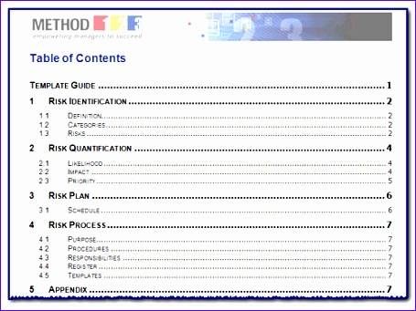 4 word table of contents template 455341