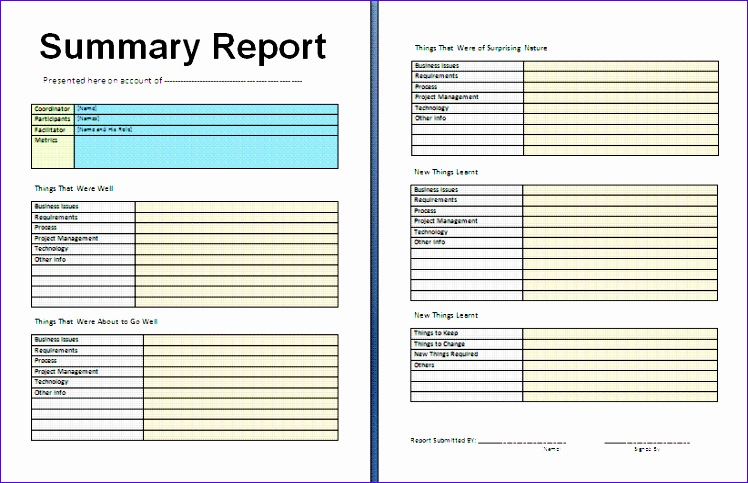 weekly report template summary report template 748483