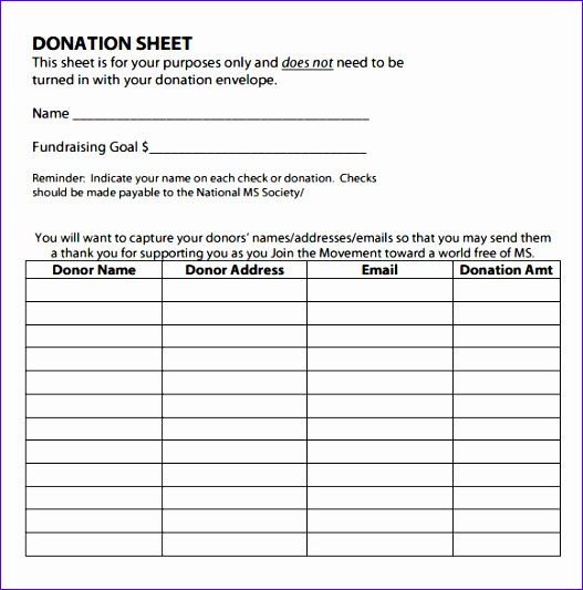 Sample Donation Sheet  Checklist Sample Format