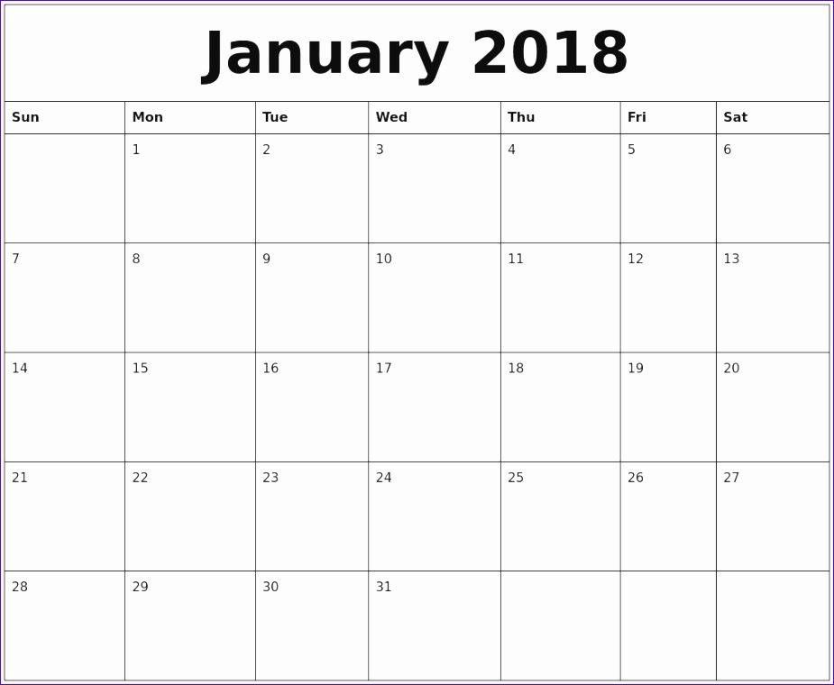 january 2018 calendar cute 2282 925760