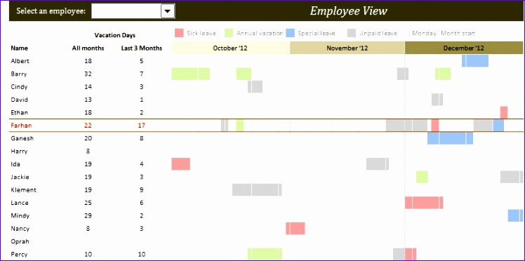 employee vacation planner excel template xls 748372