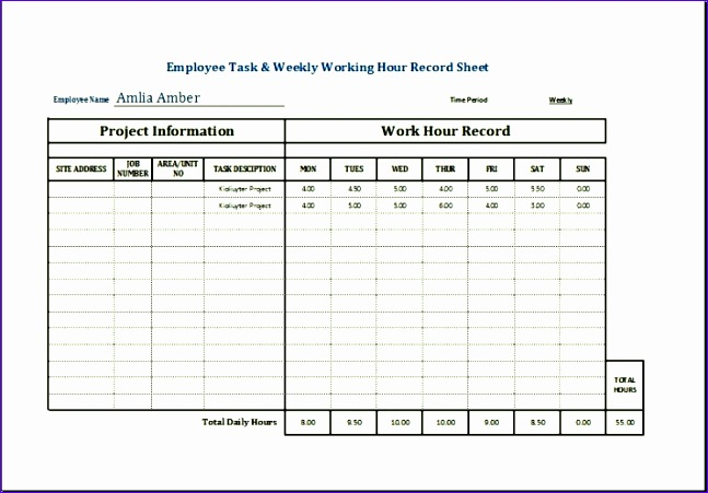 sample employee task weekly working hour record sheet template excel 647451