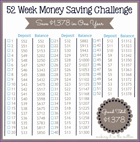 52 week savings plan spreadsheet