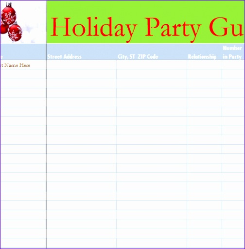 holiday party guest list