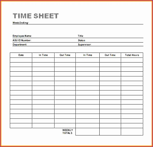 timesheet template word 536515