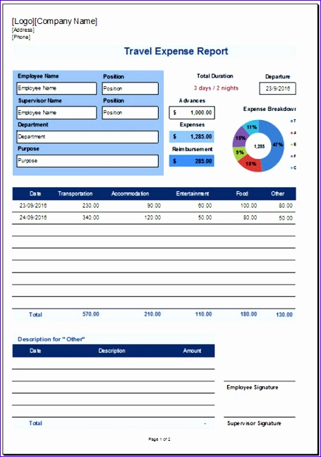 travel expense report template 455647