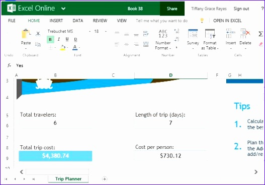 trip planner template for excel online 527368