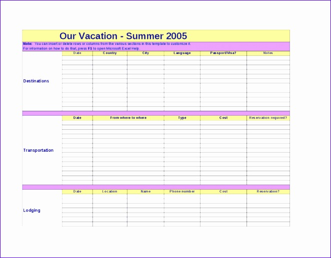 Travel Itinerary Template Excel  Exceltemplates  Exceltemplates