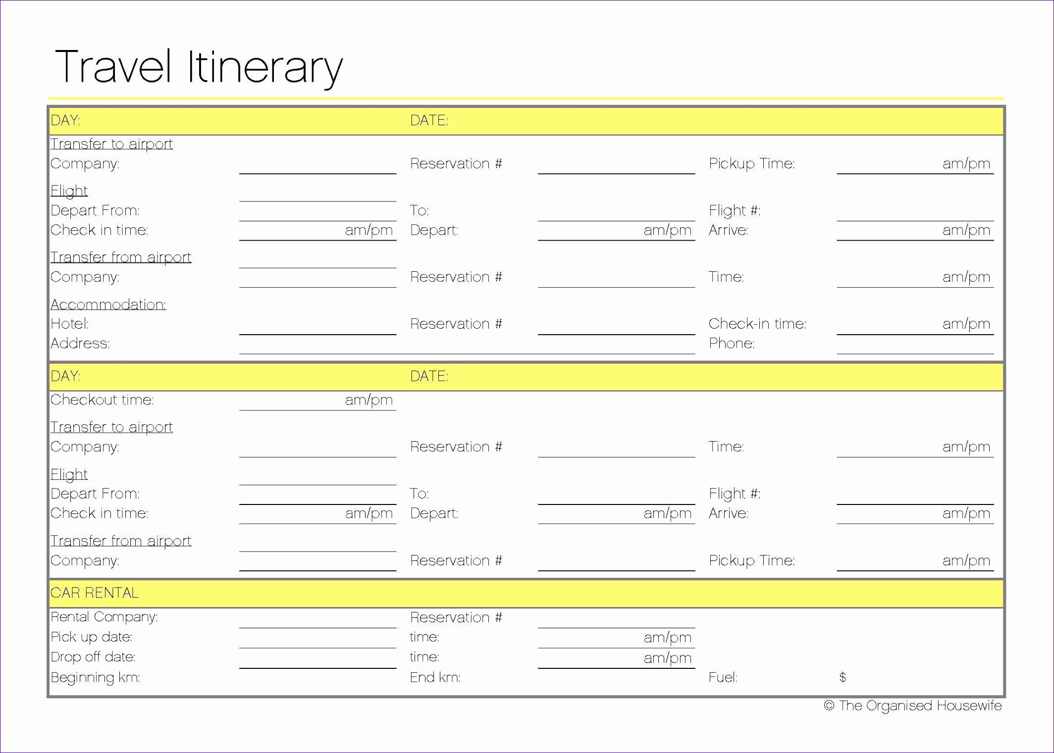 12 travel itinerary template excel exceltemplates