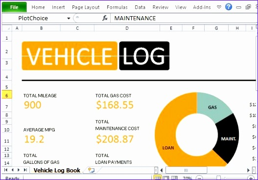 calculate mileage and fuel expenses with vehicle log book for excel 527368