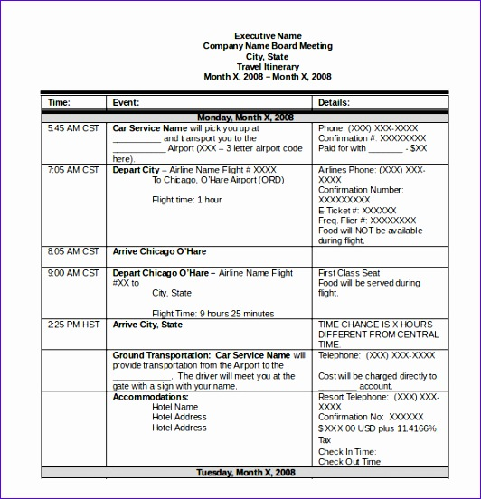 itinerary template 532552