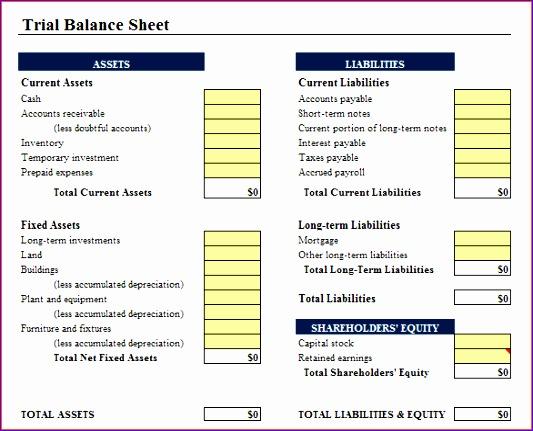 7 balance sheet template excel 533431
