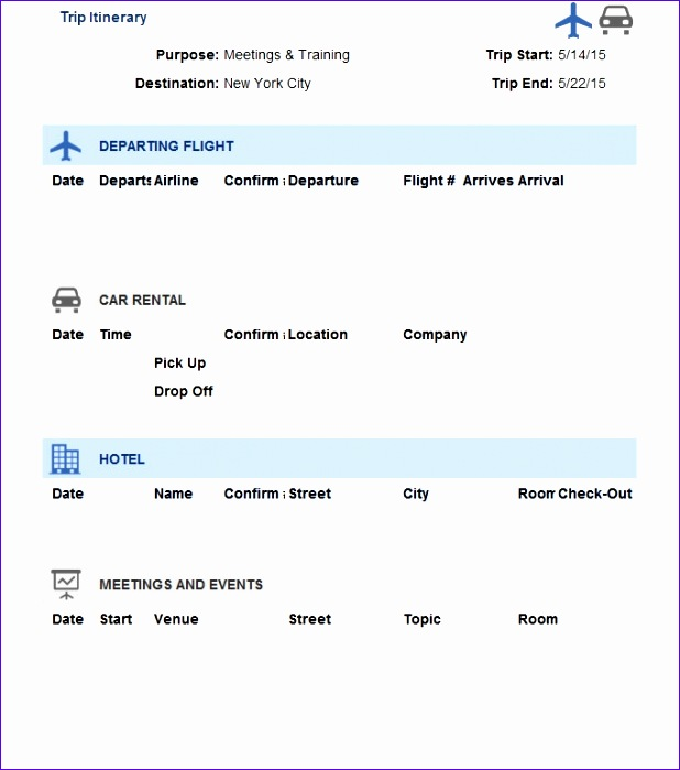 Business Travel Itinerary Template Word 5158