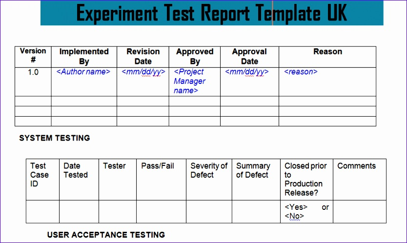 experiment test report template uk doc 834498