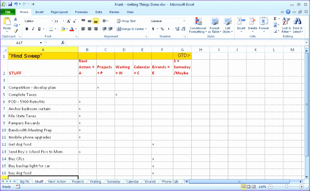 ting things done gtd excel template 1001615